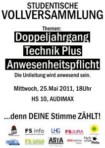Plakat zur studentischen Vollversammlung am 25.05.2011