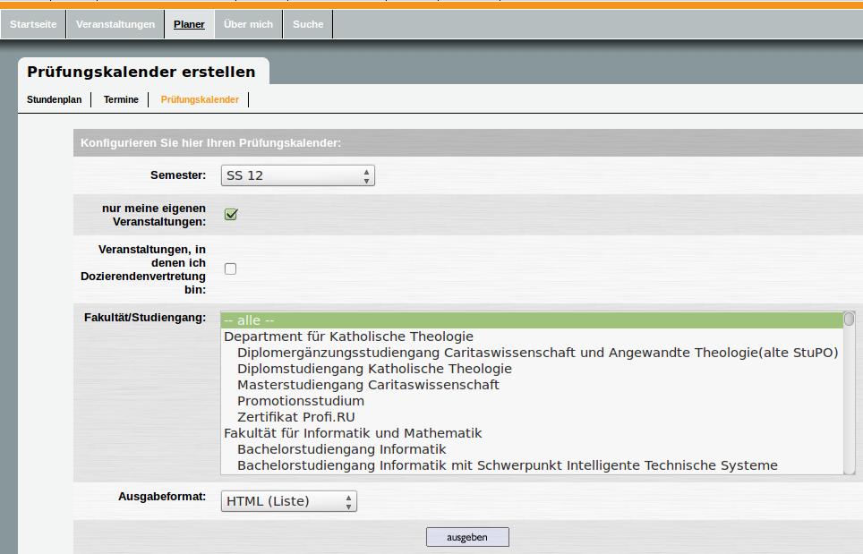 Hauptseite des neuen Prüfungskalenders in Stud.IP