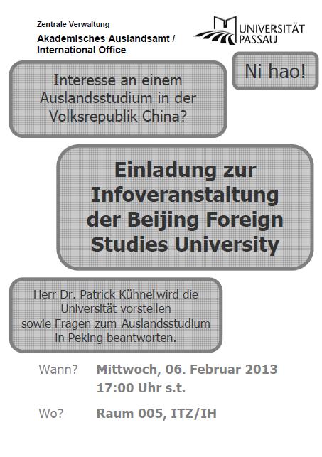 Infoveranstaltung der Beijing Foreign Studies University