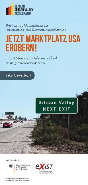Flyer zur German Silicon Valley Accelerator Ausschreibung 2013