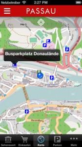 Kartenansicht in der Passau App