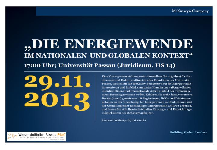 McKinsey Gastvortrag: Energiewende