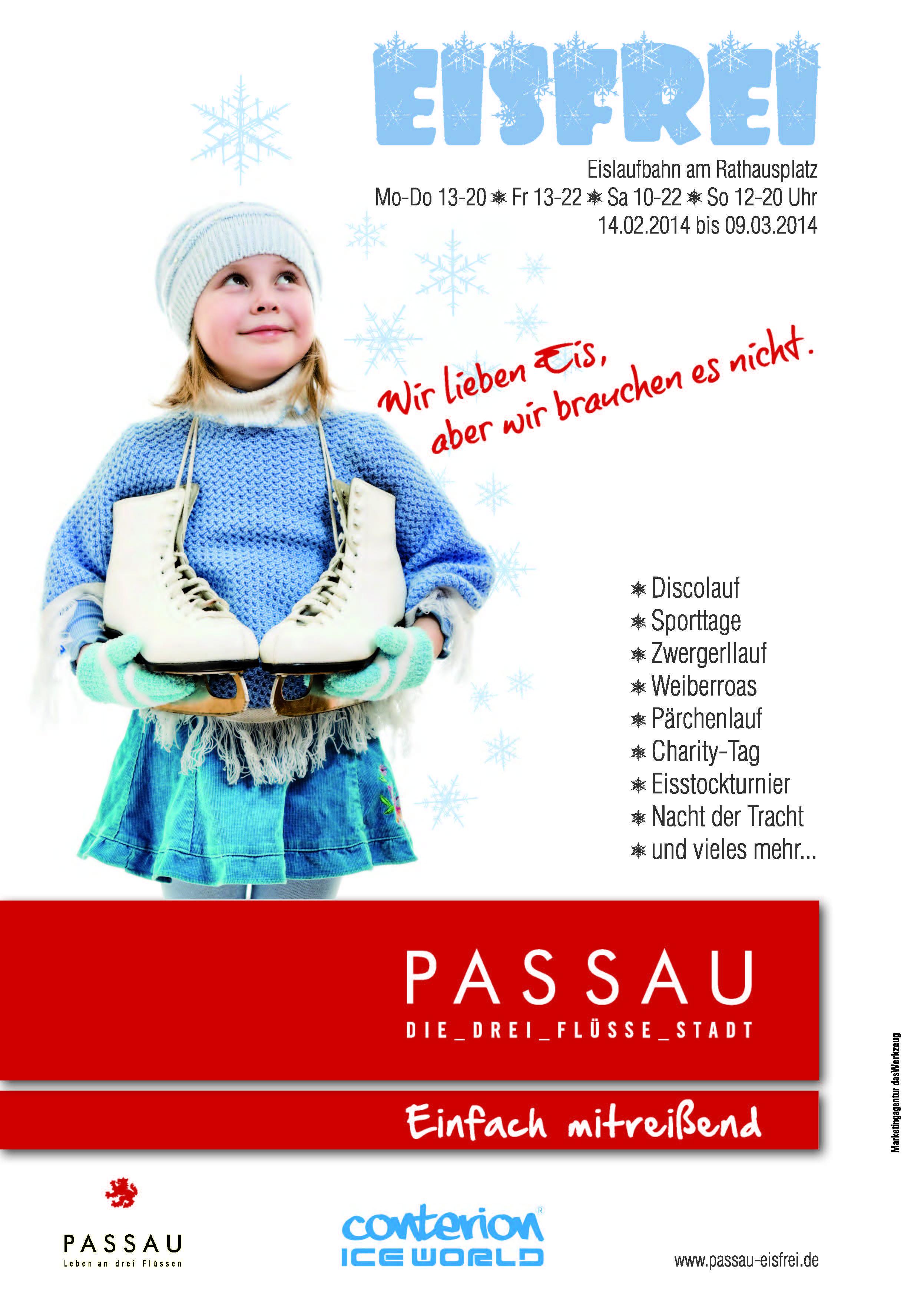 Plakak Eisfrei: Eislaufbahn am Rathausplatz Passau