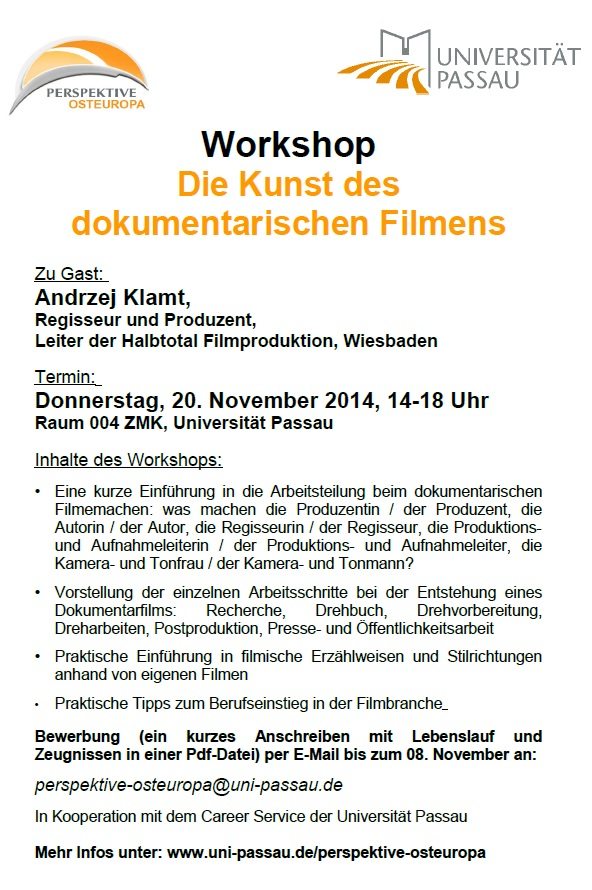 Workshop_Kunst des dokumenarischen Filmens