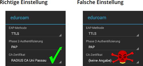 Prüfung der eduroam-Konfiguration unter Android