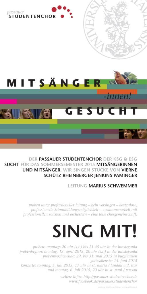 Mitsänger gesucht Passauer Studentenchor