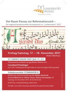 """Plakat zur Tagung """"Der Raum Passau zur Reformationszeit"""""""