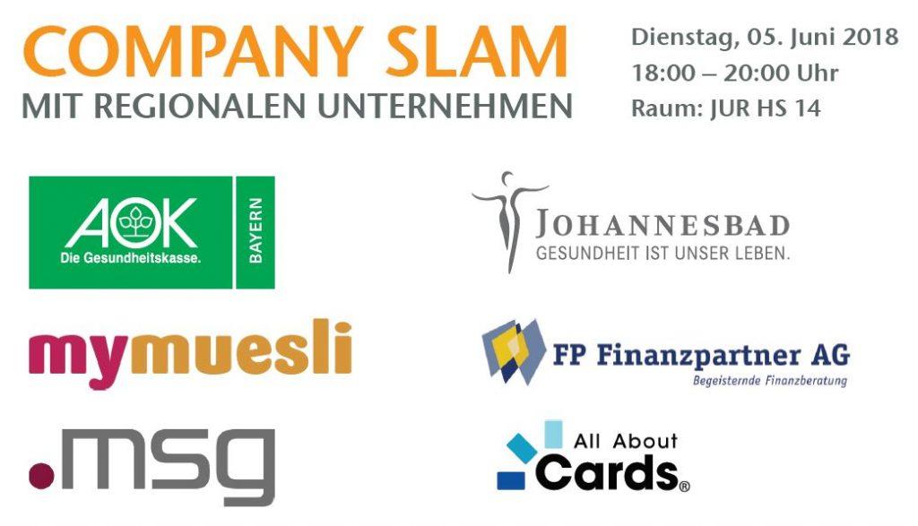 Die Logos der Unternehmen. Der Company Slam findet am 05. Juni von 18 bis 20 Uhr im Hörsaal 14 statt.