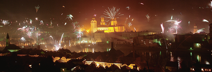 Silvesterfeuerwerk in Passau