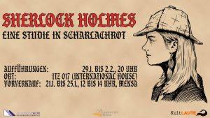 """Einladung zum Theaterstück """"Sherlock Holmes - Eine Studie in Scharlachrot"""" von KultLaute"""