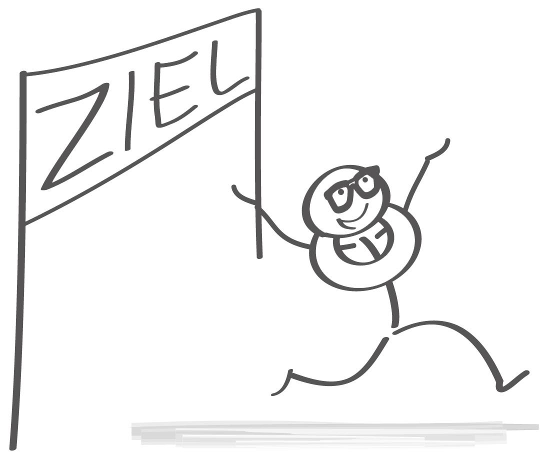 """Ein Strichmännchen lüft durch ein Tor mit der Aufschrift """"Ziel"""""""