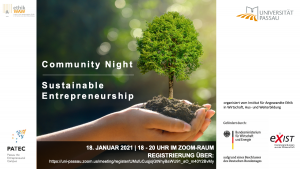 Flyer Community Night Sustainable Entrepreneurship